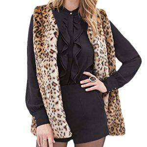 NWT Cheetah Print Trendy Chic Fur Vest Coat Jacket